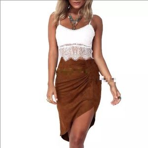 Dresses & Skirts - Tan suede hi low skirt wear with animal print top